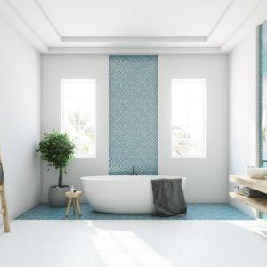 ванная комната, белый и бирюзовый